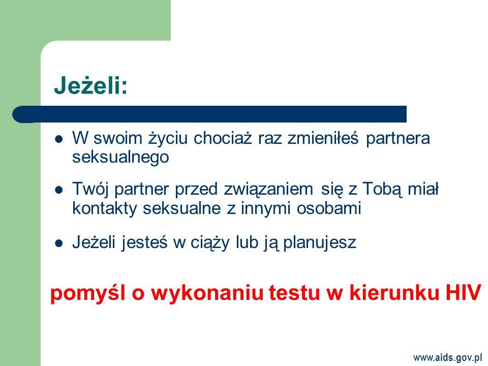www.aids.gov.pl Jeżeli: W swoim życiu chociaż raz zmieniłeś partnera seksualnego Twój partner przed związaniem się z Tobą miał kontakty seksualne z innymi osobami Jeżeli jesteś w ciąży lub ją planujesz pomyśl o wykonaniu testu w kierunku HIV