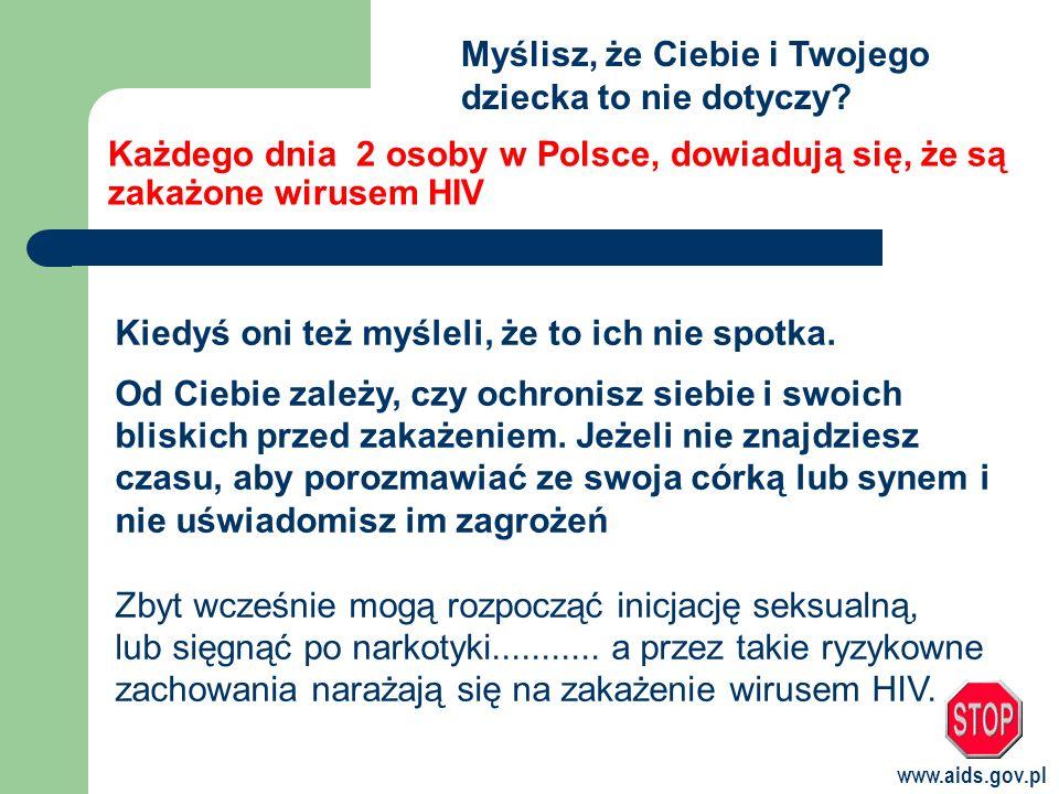 www.aids.gov.pl Każdego dnia 2 osoby w Polsce, dowiadują się, że są zakażone wirusem HIV Kiedyś oni też myśleli, że to ich nie spotka.