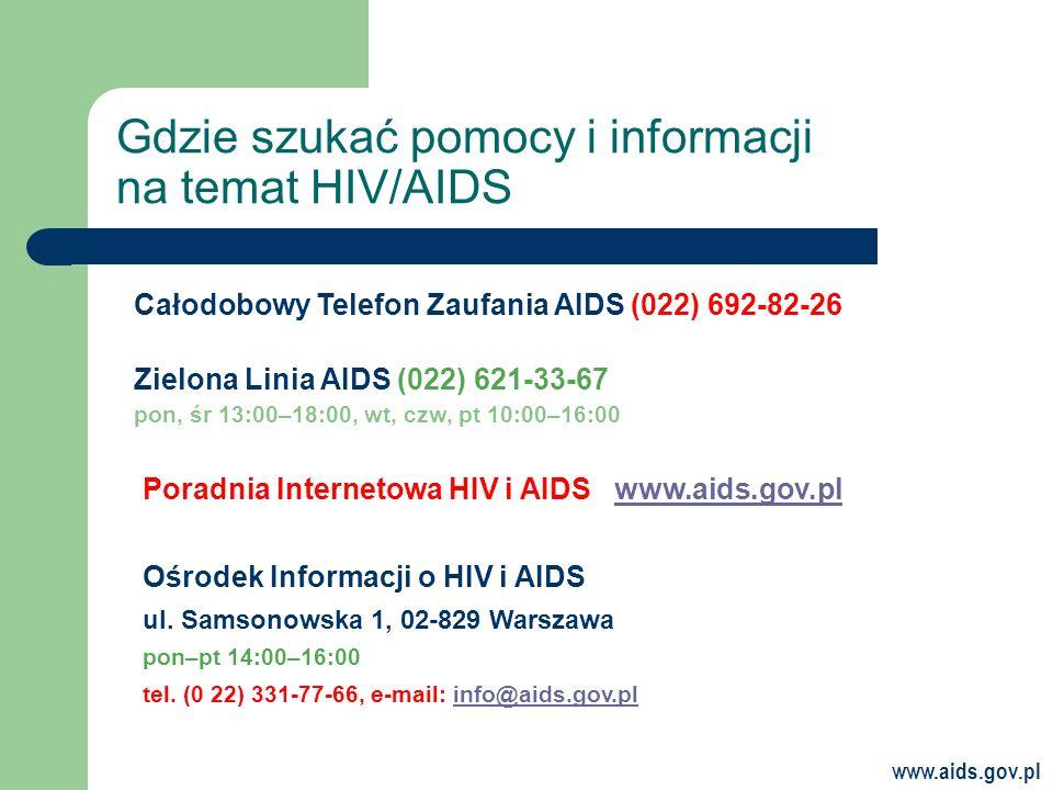 www.aids.gov.pl Gdzie szukać pomocy i informacji na temat HIV/AIDS Ośrodek Informacji o HIV i AIDS ul.