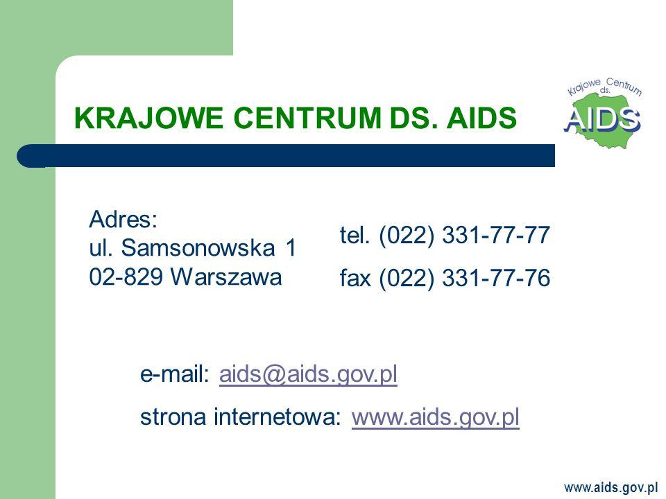 KRAJOWE CENTRUM DS.AIDS Adres: ul. Samsonowska 1 02-829 Warszawa tel.