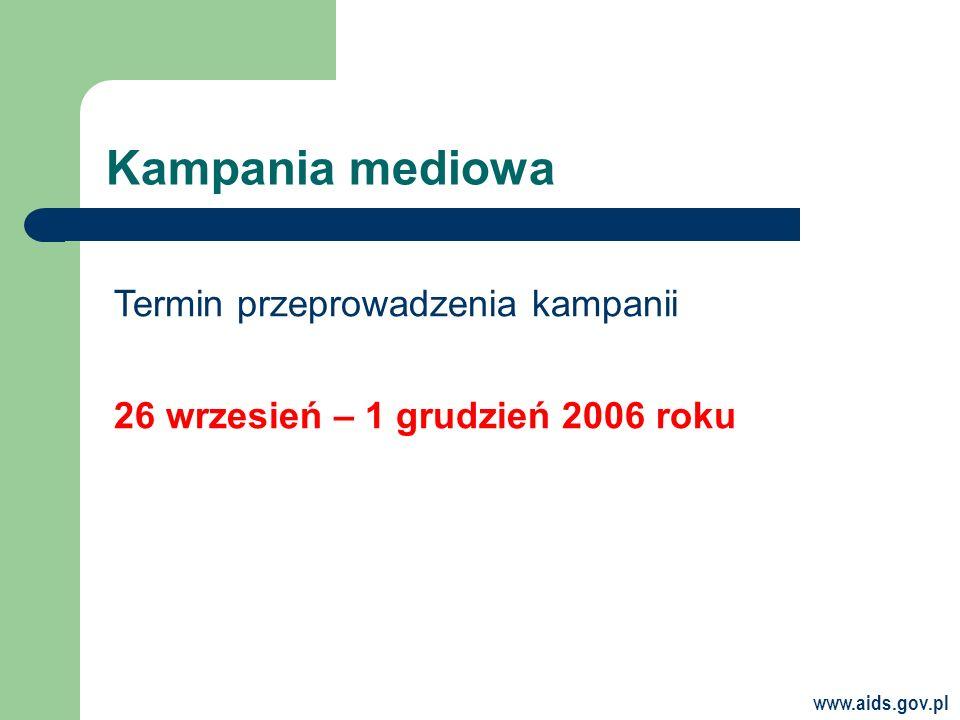 Kampania mediowa Termin przeprowadzenia kampanii 26 wrzesień – 1 grudzień 2006 roku