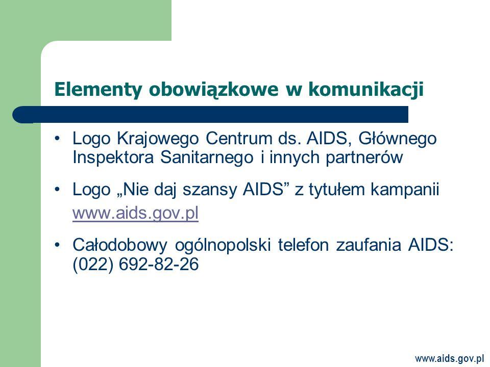 www.aids.gov.pl Elementy obowiązkowe w komunikacji Logo Krajowego Centrum ds.