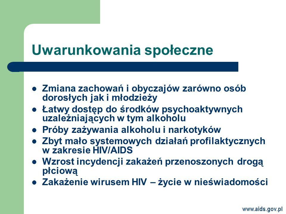 www.aids.gov.pl Uwarunkowania społeczne Zmiana zachowań i obyczajów zarówno osób dorosłych jak i młodzieży Łatwy dostęp do środków psychoaktywnych uzależniających w tym alkoholu Próby zażywania alkoholu i narkotyków Zbyt mało systemowych działań profilaktycznych w zakresie HIV/AIDS Wzrost incydencji zakażeń przenoszonych drogą płciową Zakażenie wirusem HIV – życie w nieświadomości