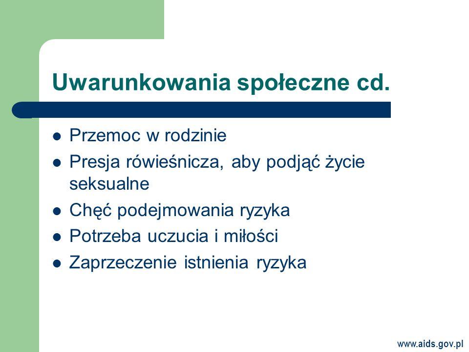 www.aids.gov.pl Uwarunkowania społeczne cd.