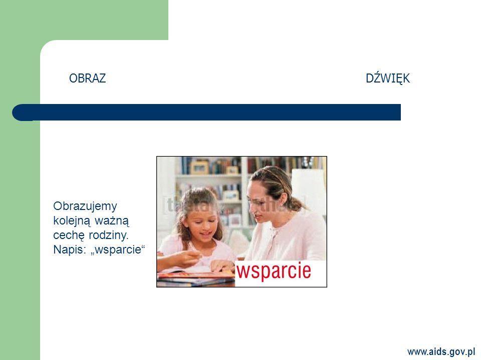 www.aids.gov.pl OBRAZDŹWIĘK Obrazujemy kolejną ważną cechę rodziny. Napis: wsparcie