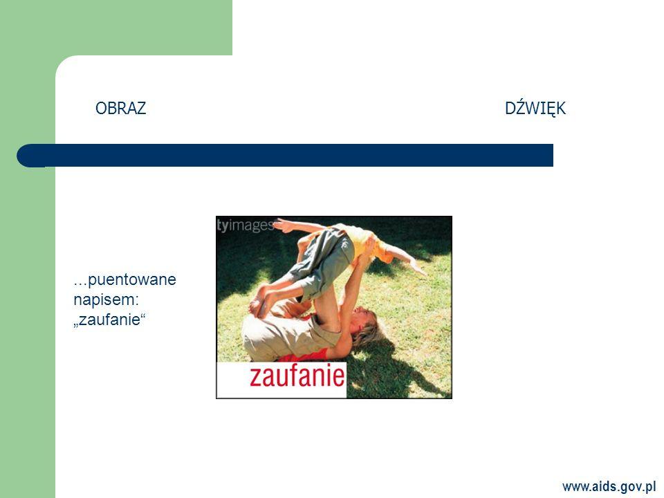 www.aids.gov.pl OBRAZDŹWIĘK...puentowane napisem: zaufanie