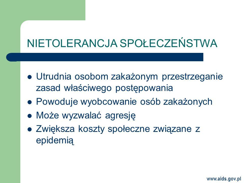 www.aids.gov.pl NIETOLERANCJA SPOŁECZEŃSTWA Utrudnia osobom zakażonym przestrzeganie zasad właściwego postępowania Powoduje wyobcowanie osób zakażonych Może wyzwalać agresję Zwiększa koszty społeczne związane z epidemią
