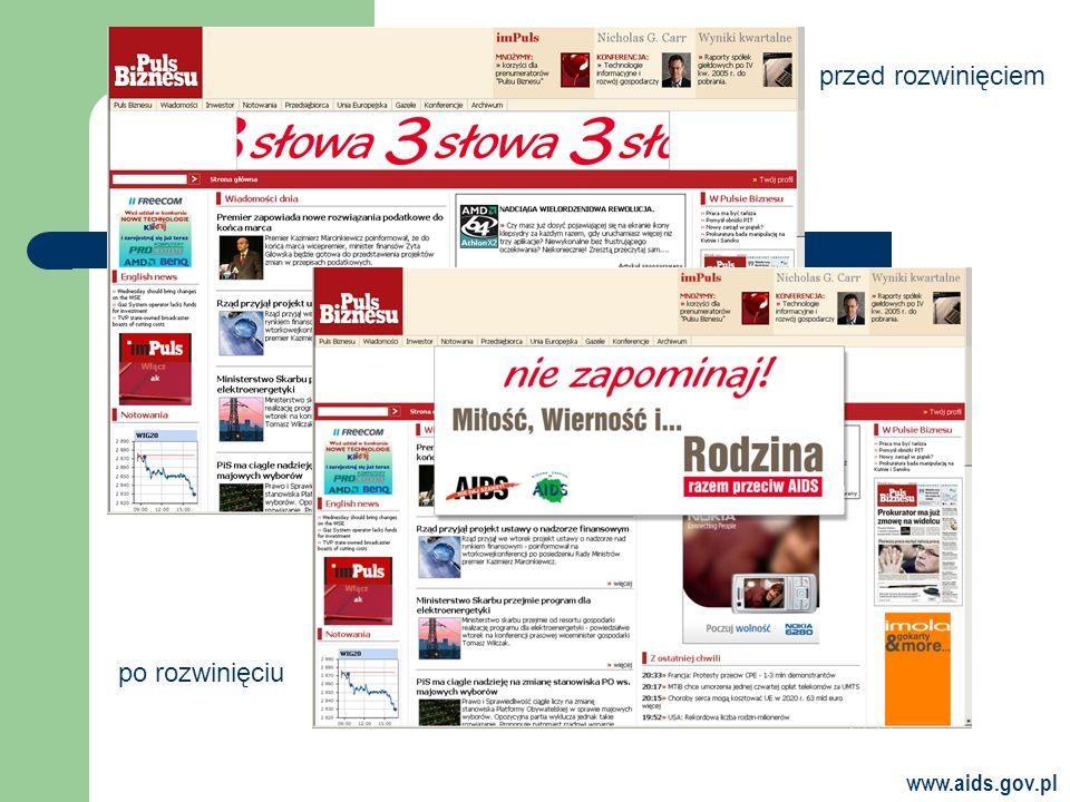 www.aids.gov.pl przed rozwinięciem po rozwinięciu