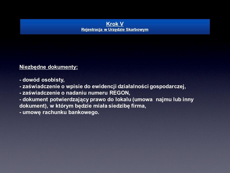 Niezbędne dokumenty: - dowód osobisty, - zaświadczenie o wpisie do ewidencji działalności gospodarczej, - zaświadczenie o nadaniu numeru REGON, - doku