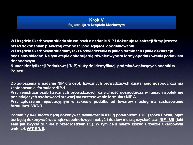 Krok V Rejestracja w Urzędzie Skarbowym W Urzędzie Skarbowym składa się wniosek o nadanie NIP i dokonuje rejestracji firmy jeszcze przed dokonaniem pi