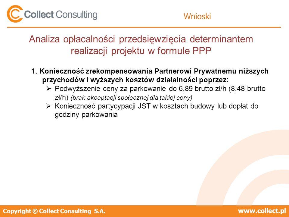 Copyright © Collect Consulting S.A.www.collect.pl Wnioski Analiza opłacalności przedsięwzięcia determinantem realizacji projektu w formule PPP 1. Koni
