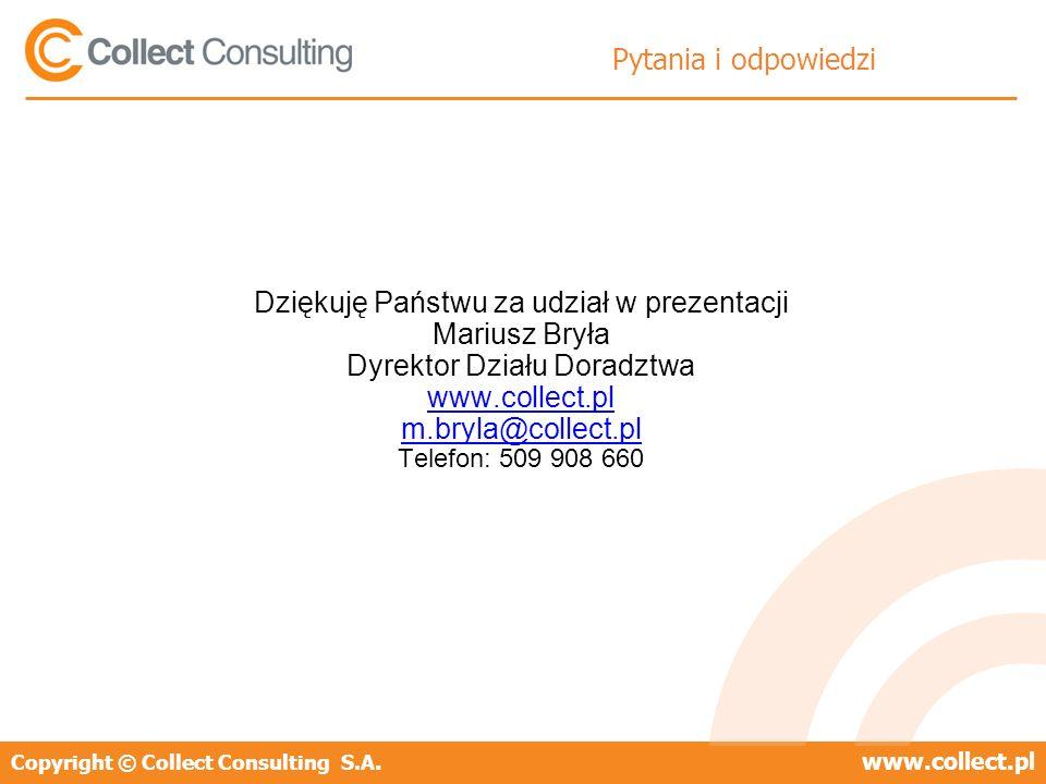 Copyright © Collect Consulting S.A.www.collect.pl Pytania i odpowiedzi Dziękuję Państwu za udział w prezentacji Mariusz Bryła Dyrektor Działu Doradztw