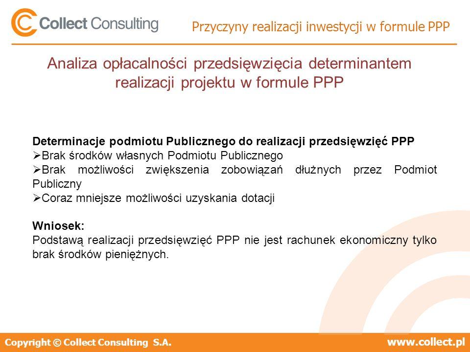 Copyright © Collect Consulting S.A.www.collect.pl Przyczyny realizacji inwestycji w formule PPP Determinacje podmiotu Publicznego do realizacji przeds
