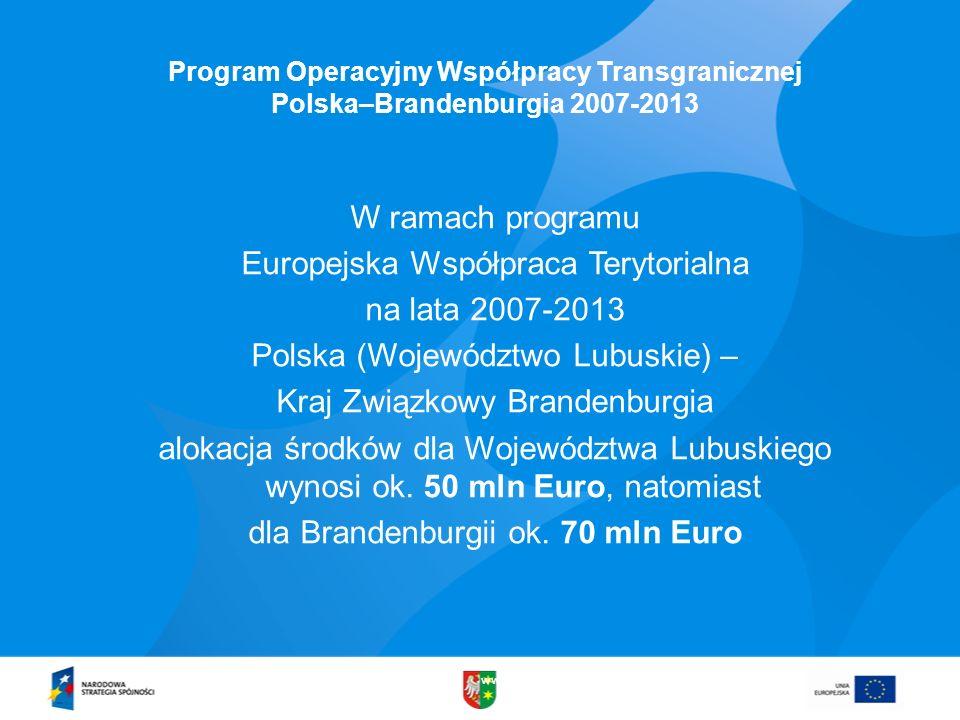 www.lubuskie.pl Program Operacyjny Współpracy Transgranicznej Polska–Brandenburgia 2007-2013 W ramach programu Europejska Współpraca Terytorialna na l
