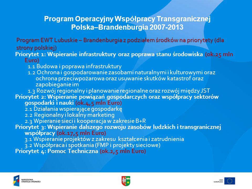 www.lubuskie.pl Program Operacyjny Współpracy Transgranicznej Polska–Brandenburgia 2007-2013 Program EWT Lubuskie – Brandenburgia z podziałem środków