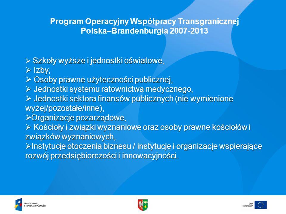 www.lubuskie.pl Program Operacyjny Współpracy Transgranicznej Polska–Brandenburgia 2007-2013 Szkoły wyższe i jednostki oświatowe, Izby, Izby, Osoby pr