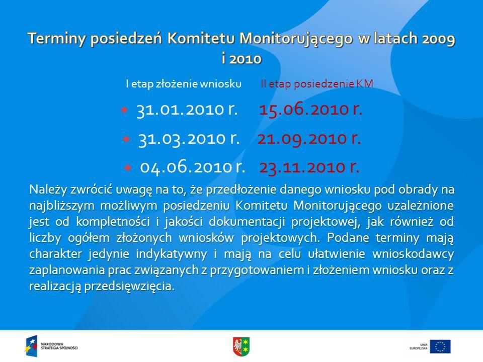 I etap złożenie wniosku II etap posiedzenie KM 31.01.2010 r. 15.06.2010 r. 31.03.2010 r. 21.09.2010 r. 04.06.2010 r. 23.11.2010 r. Należy zwrócić uwag