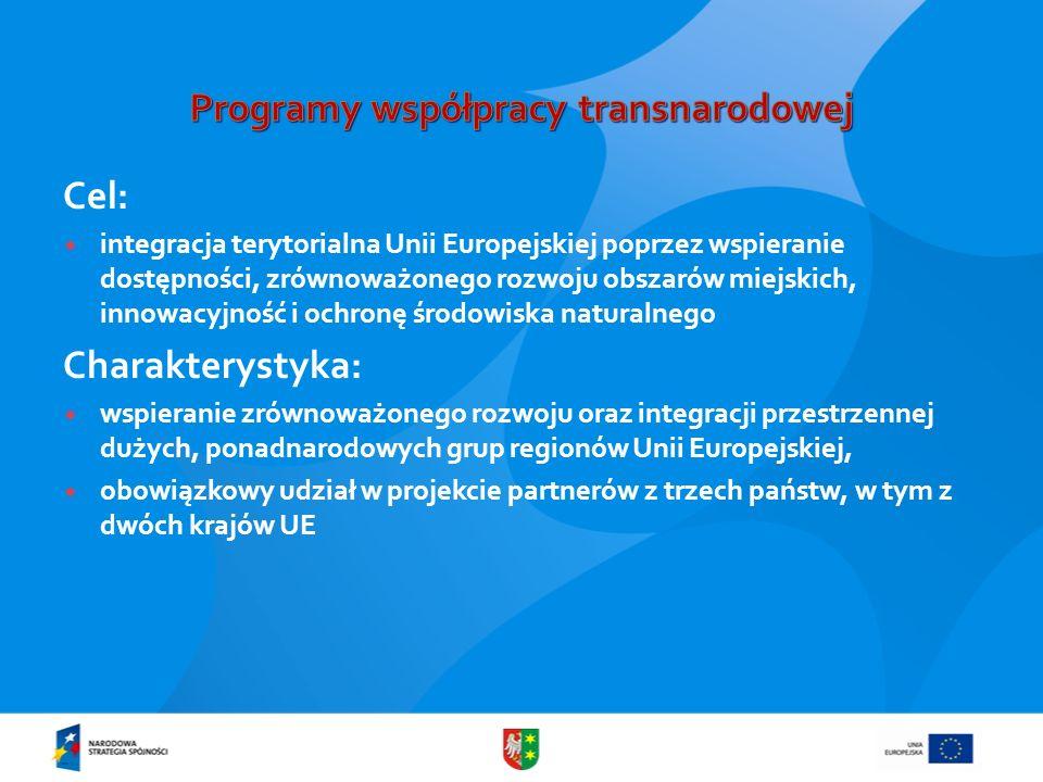 Cel: integracja terytorialna Unii Europejskiej poprzez wspieranie dostępności, zrównoważonego rozwoju obszarów miejskich, innowacyjność i ochronę środ