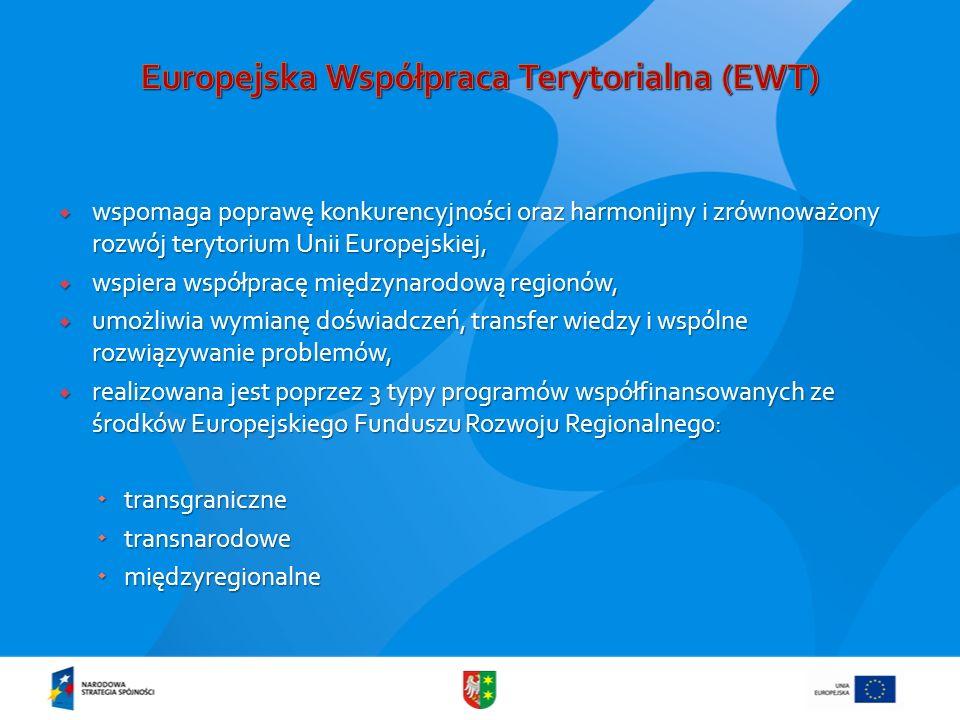 wspomaga poprawę konkurencyjności oraz harmonijny i zrównoważony rozwój terytorium Unii Europejskiej, wspomaga poprawę konkurencyjności oraz harmonijn