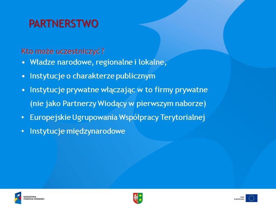 PARTNERSTWO Kto może uczestniczyć ? Władze narodowe, regionalne i lokalne, Instytucje o charakterze publicznym Instytucje prywatne włączając w to firm