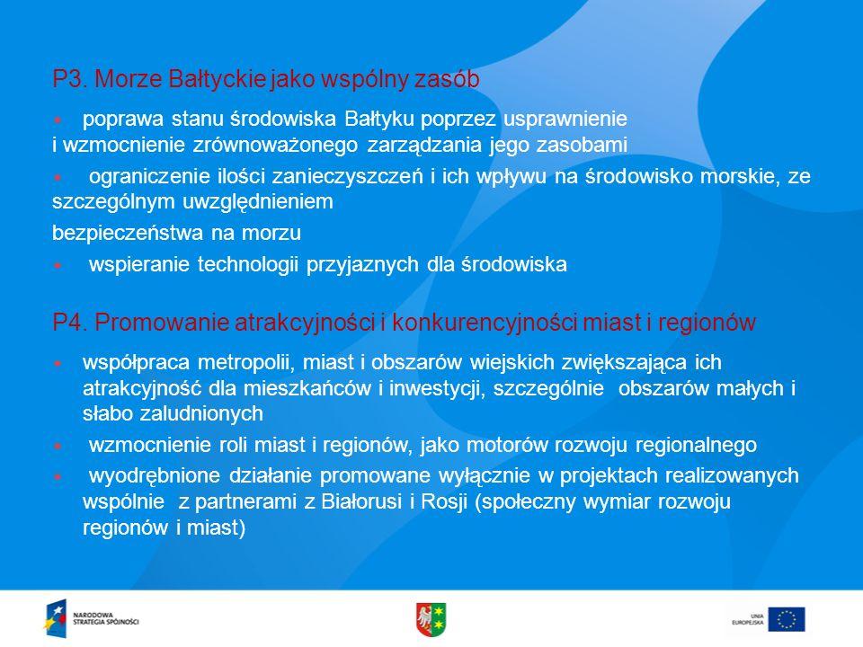 P3. Morze Bałtyckie jako wspólny zasób poprawa stanu środowiska Bałtyku poprzez usprawnienie i wzmocnienie zrównoważonego zarządzania jego zasobami og