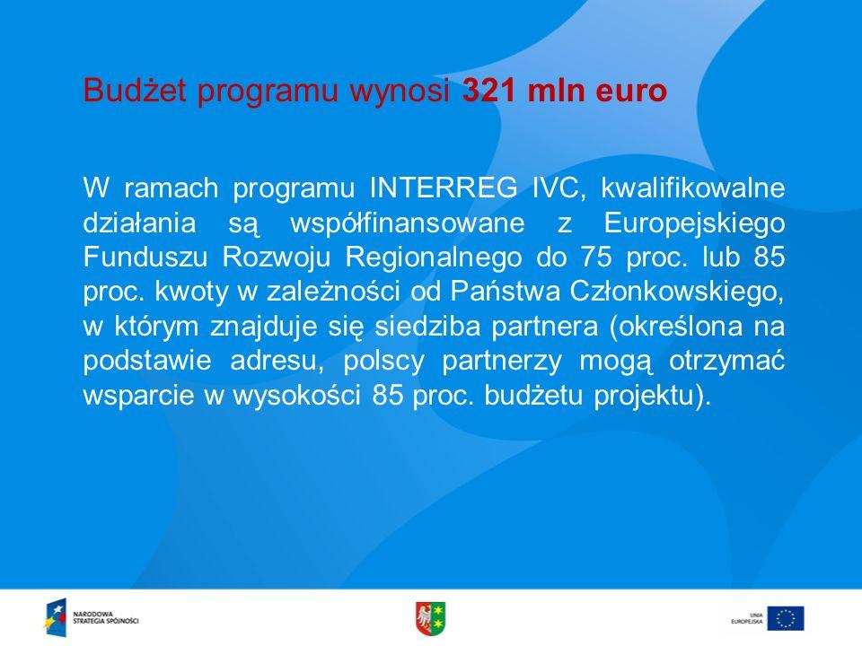 W ramach programu INTERREG IVC, kwalifikowalne działania są współfinansowane z Europejskiego Funduszu Rozwoju Regionalnego do 75 proc. lub 85 proc. kw