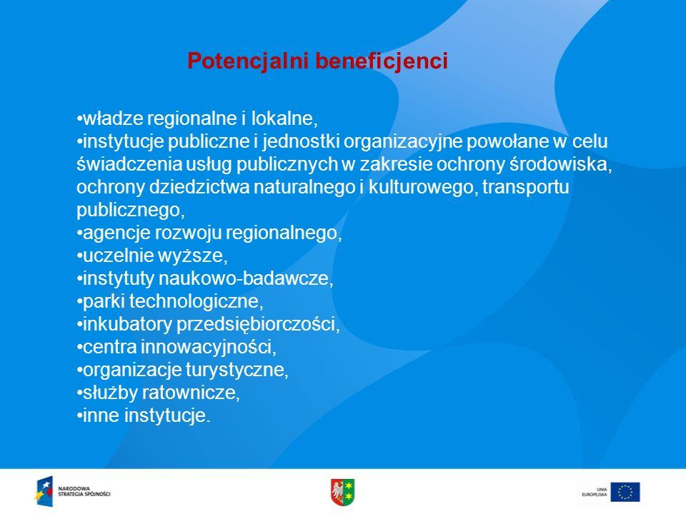 Potencjalni beneficjenci władze regionalne i lokalne, instytucje publiczne i jednostki organizacyjne powołane w celu świadczenia usług publicznych w z