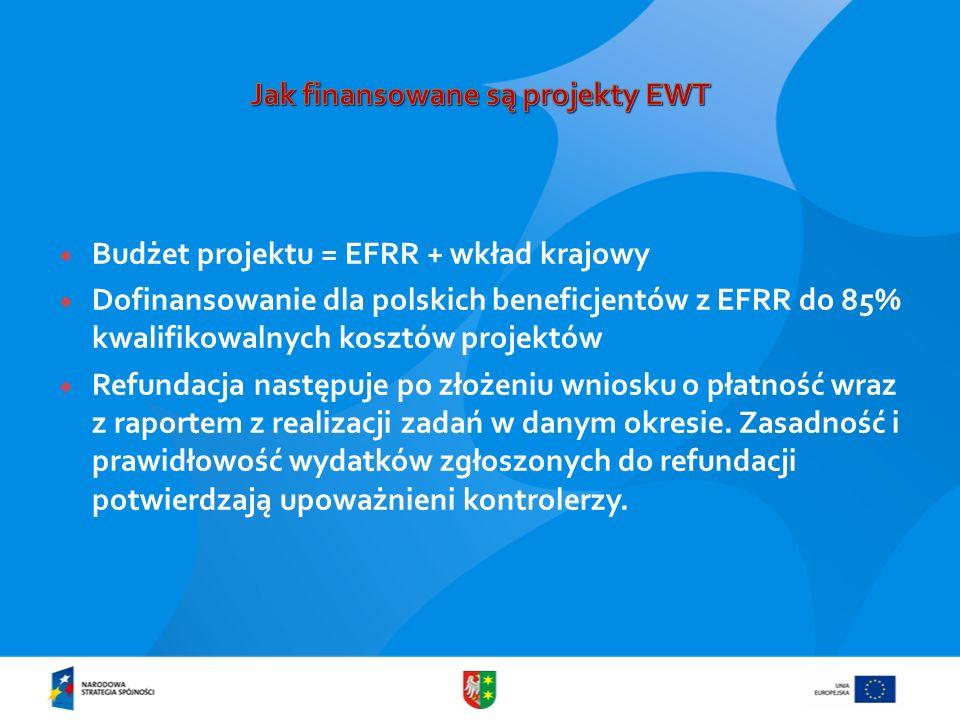 Budżet projektu = EFRR + wkład krajowy Dofinansowanie dla polskich beneficjentów z EFRR do 85% kwalifikowalnych kosztów projektów Refundacja następuje