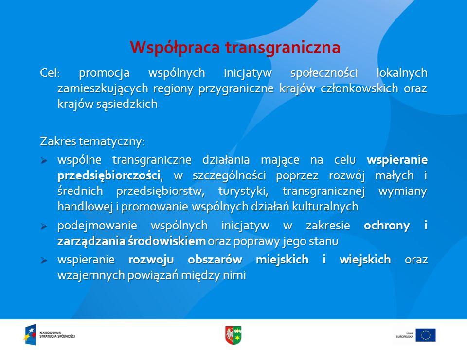 www.lubuskie.pl Współpraca transgraniczna Cel: promocja wspólnych inicjatyw społeczności lokalnych zamieszkujących regiony przygraniczne krajów członk