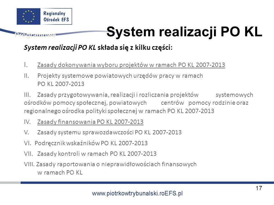 System realizacji PO KL System realizacji PO KL składa się z kilku części: I. Zasady dokonywania wyboru projektów w ramach PO KL 2007-2013 II. Projekt