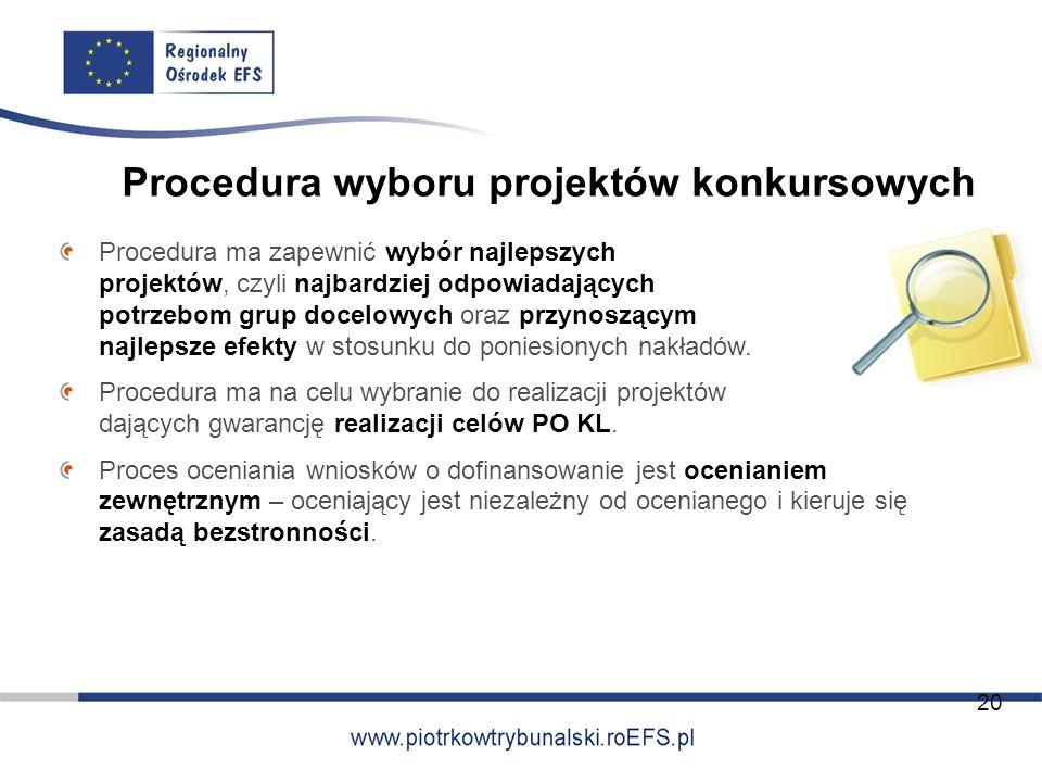 Procedura wyboru projektów konkursowych Procedura ma zapewnić wybór najlepszych projektów, czyli najbardziej odpowiadających potrzebom grup docelowych