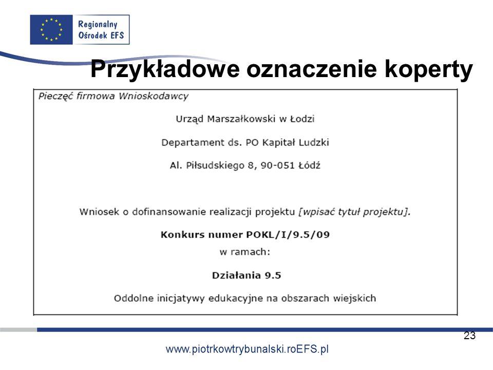 Przykładowe oznaczenie koperty 23