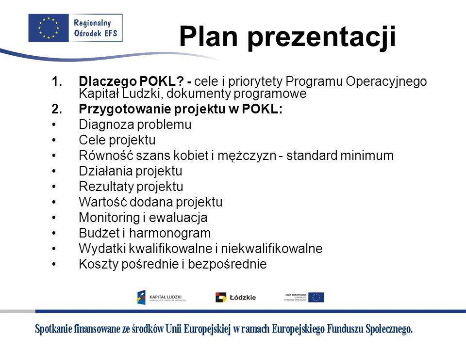 Plan prezentacji 1.Dlaczego POKL? - cele i priorytety Programu Operacyjnego Kapitał Ludzki, dokumenty programowe 2.Przygotowanie projektu w POKL: Diag