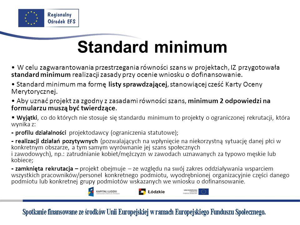 Standard minimum W celu zagwarantowania przestrzegania równości szans w projektach, IZ przygotowała standard minimum realizacji zasady przy ocenie wni