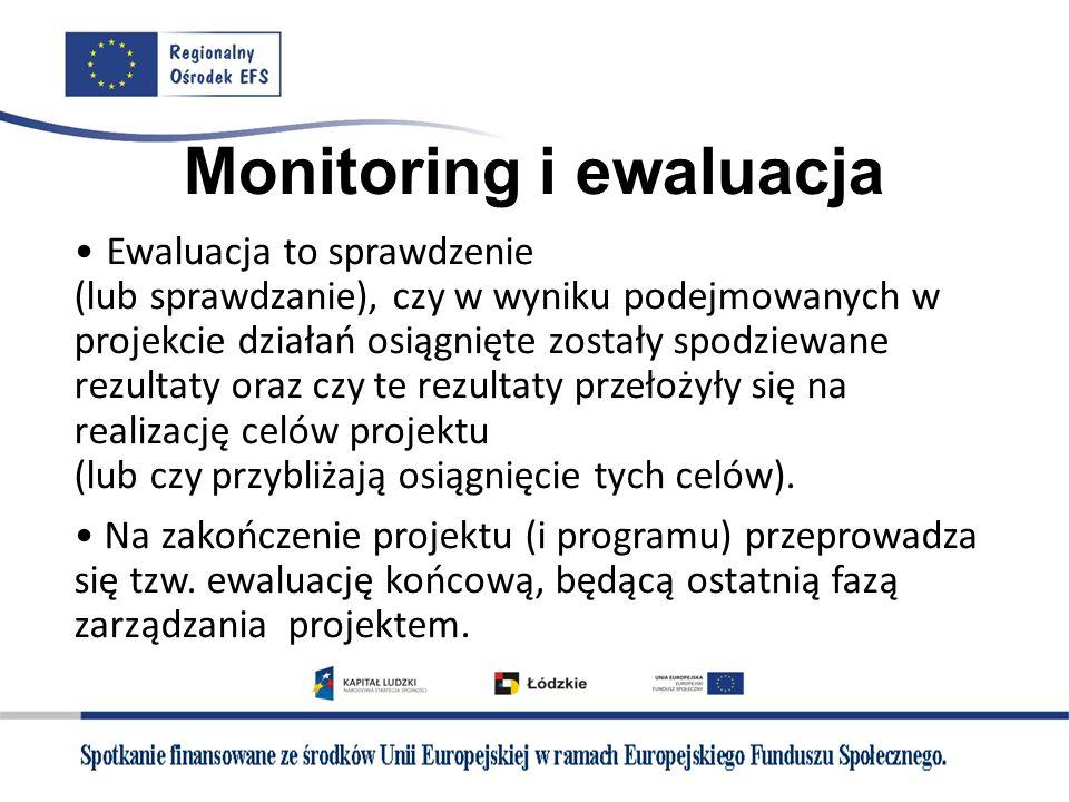 Monitoring i ewaluacja Ewaluacja to sprawdzenie (lub sprawdzanie), czy w wyniku podejmowanych w projekcie działań osiągnięte zostały spodziewane rezul