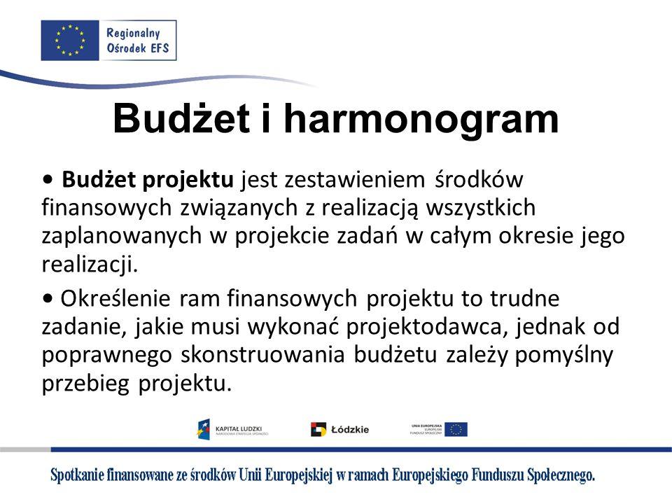 Budżet i harmonogram Budżet projektu jest zestawieniem środków finansowych związanych z realizacją wszystkich zaplanowanych w projekcie zadań w całym