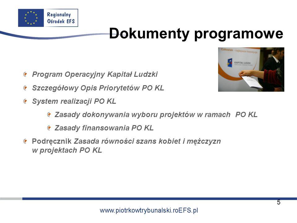 Dokumenty programowe Program Operacyjny Kapitał Ludzki Szczegółowy Opis Priorytetów PO KL System realizacji PO KL Zasady dokonywania wyboru projektów