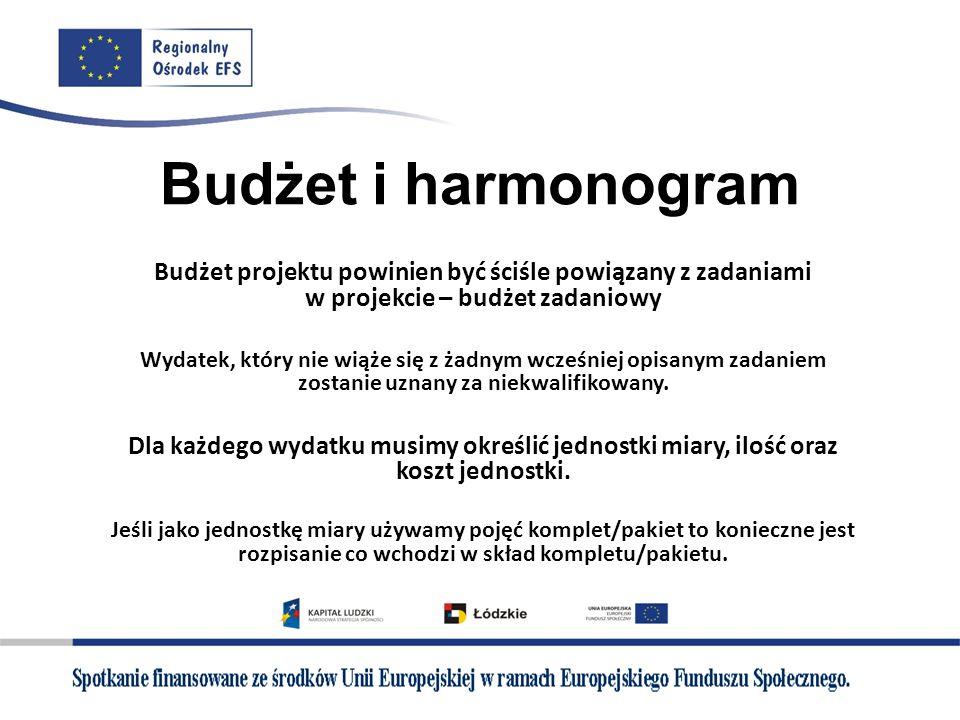 Budżet i harmonogram Budżet projektu powinien być ściśle powiązany z zadaniami w projekcie – budżet zadaniowy Wydatek, który nie wiąże się z żadnym wc
