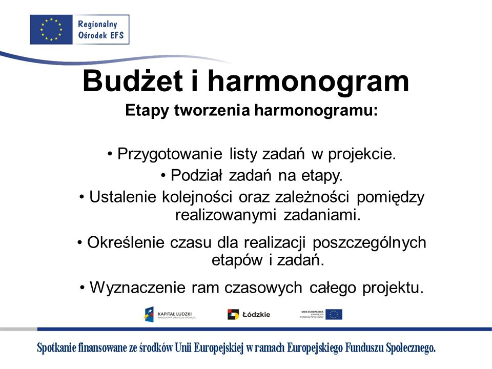 Budżet i harmonogram Etapy tworzenia harmonogramu: Przygotowanie listy zadań w projekcie. Podział zadań na etapy. Ustalenie kolejności oraz zależności