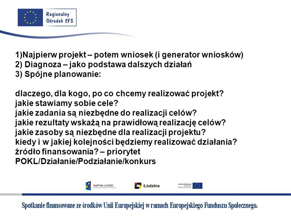 1)Najpierw projekt – potem wniosek (i generator wniosków) 2) Diagnoza – jako podstawa dalszych działań 3) Spójne planowanie: dlaczego, dla kogo, po co