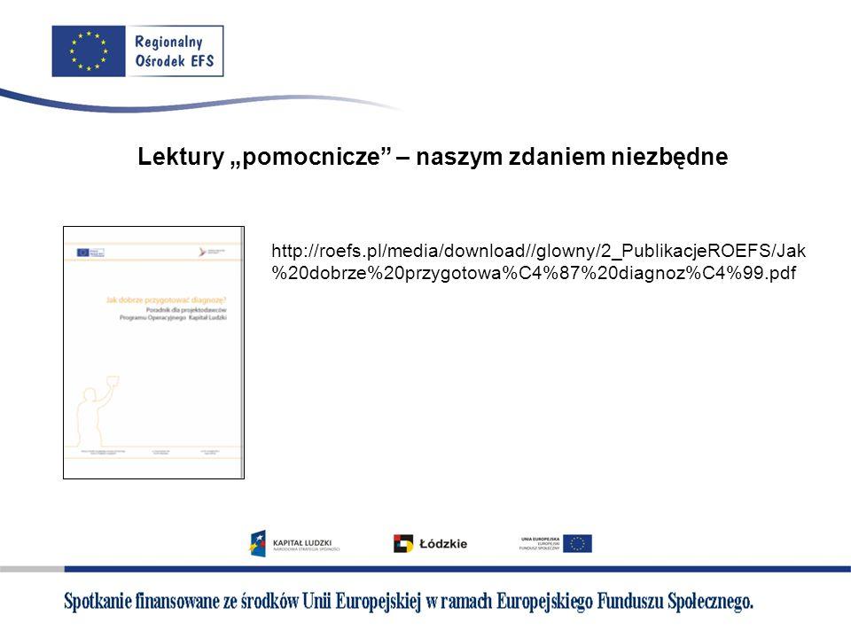 Lektury pomocnicze – naszym zdaniem niezbędne http://roefs.pl/media/download//glowny/2_PublikacjeROEFS/Jak %20dobrze%20przygotowa%C4%87%20diagnoz%C4%9