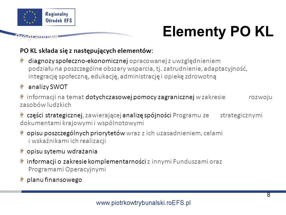 PO KL składa się z następujących elementów: diagnozy społeczno-ekonomicznej opracowanej z uwzględnieniem podziału na poszczególne obszary wsparcia, tj