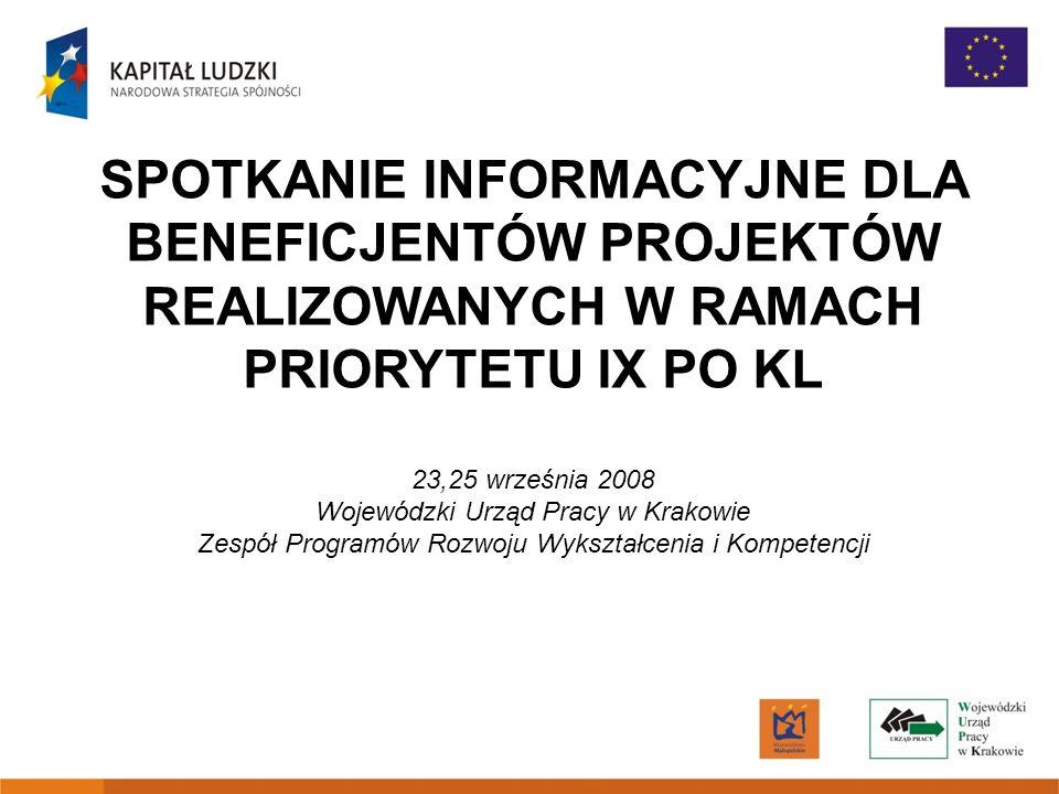SPOTKANIE INFORMACYJNE DLA BENEFICJENTÓW PROJEKTÓW REALIZOWANYCH W RAMACH PRIORYTETU IX PO KL 23,25 września 2008 Wojewódzki Urząd Pracy w Krakowie Ze