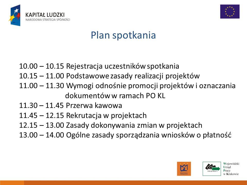 Plan spotkania 10.00 – 10.15 Rejestracja uczestników spotkania 10.15 – 11.00 Podstawowe zasady realizacji projektów 11.00 – 11.30 Wymogi odnośnie prom