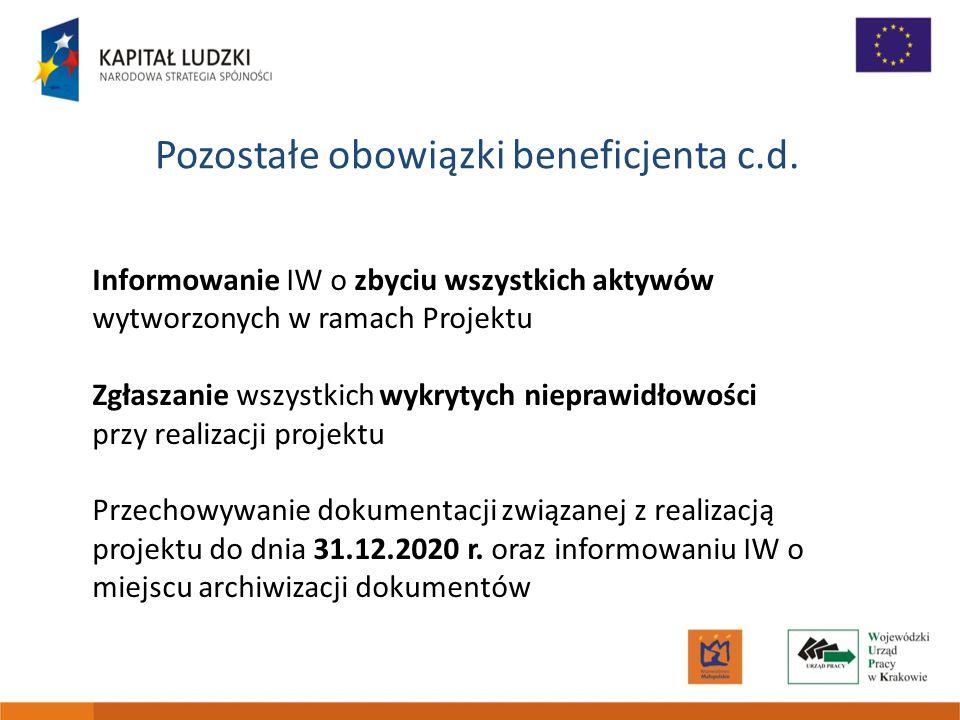 Pozostałe obowiązki beneficjenta c.d. Informowanie IW o zbyciu wszystkich aktywów wytworzonych w ramach Projektu Zgłaszanie wszystkich wykrytych niepr