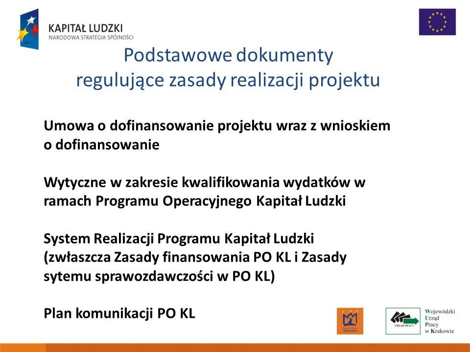 Podstawowe dokumenty regulujące zasady realizacji projektu Umowa o dofinansowanie projektu wraz z wnioskiem o dofinansowanie Wytyczne w zakresie kwali
