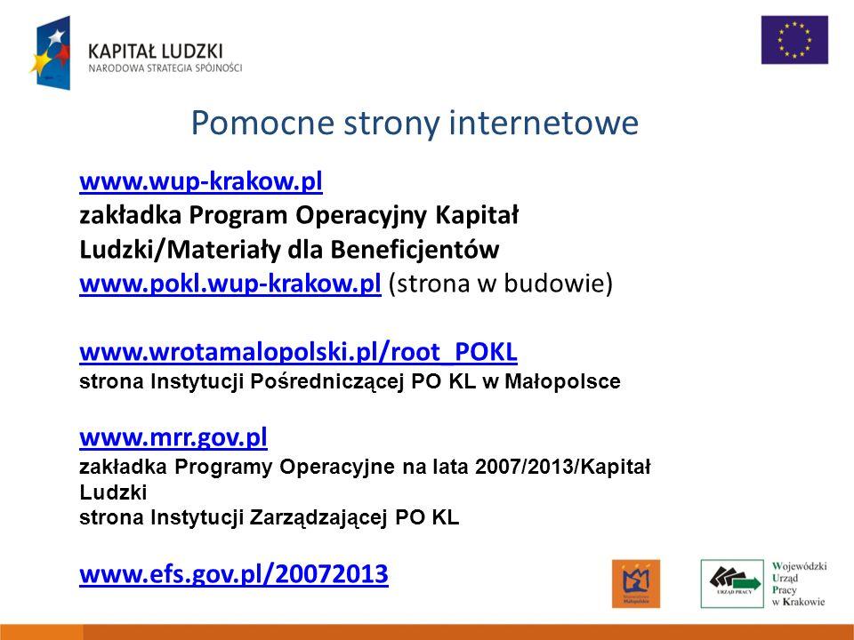 Pomocne strony internetowe www.wup-krakow.pl zakładka Program Operacyjny Kapitał Ludzki/Materiały dla Beneficjentów www.pokl.wup-krakow.plwww.pokl.wup