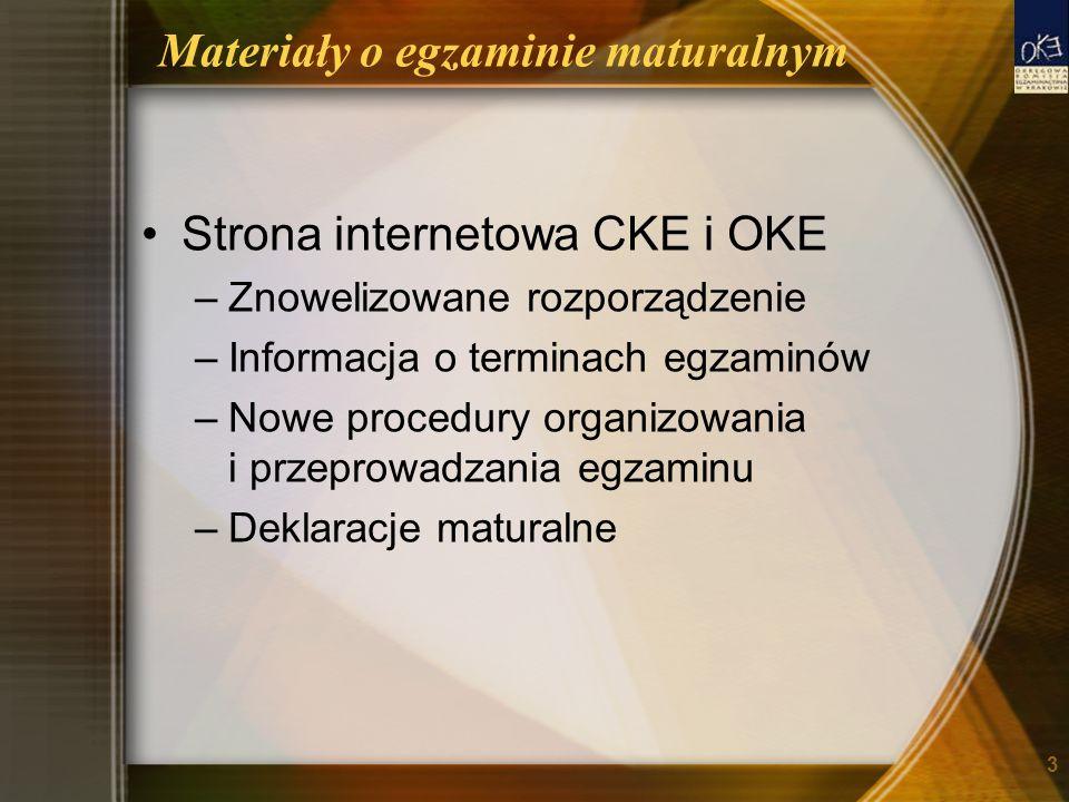 Materiały o egzaminie maturalnym Strona internetowa CKE i OKE –Znowelizowane rozporządzenie –Informacja o terminach egzaminów –Nowe procedury organizo