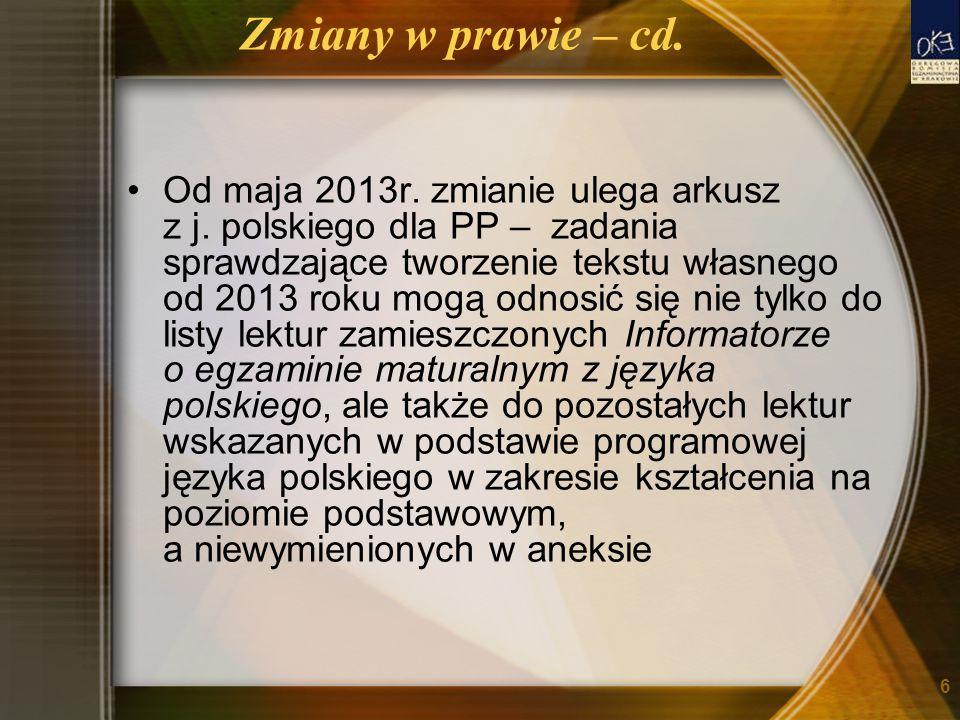 Zmiany w prawie – cd. Od maja 2013r. zmianie ulega arkusz z j. polskiego dla PP – zadania sprawdzające tworzenie tekstu własnego od 2013 roku mogą odn