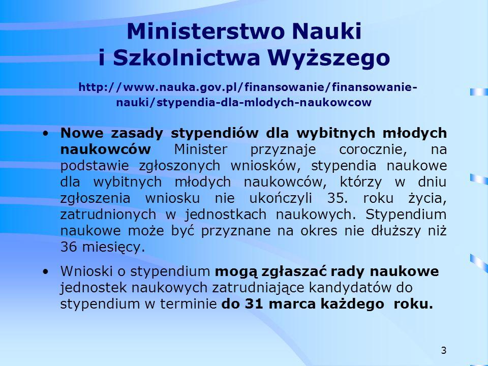 Narodowe Centrum Nauki http://www.ncn.gov.pl/finansowanie- nauki/konkursy/typy PRELUDIUM - konkurs na finansowanie projektów badawczych, realizowanych przez osoby rozpoczynające karierę naukową nieposiadające stopnia naukowego doktora.
